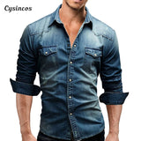 Denim Shirt Men Cotton Jeans Shirt Autumn Slim Long Sleeve Cowboy Shirt Wash Slim Tops
