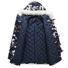 Camouflage Down Parkas Jackets  Men's Parka Hooded Coat Male Fur Collar