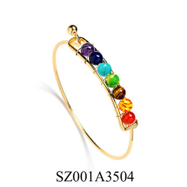 Charming Chakra Bracelets Bangle Colors Natural Stone Beads Energy Bracelet Jewelry