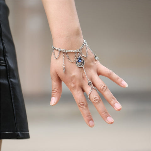 Charming Water Drop Blue Crystal Bangle Women Link Chain Ring Bracelets Statement Jewelry