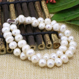 Charms Natural White Near Round Pearl Beads Strand Bracelets Bangle Women Jewelry