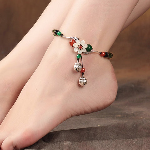 Chinese Couple Vintage Double Bells Anklets Lovers Feet Accessories Rope Retro Jewelry