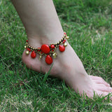 Chinese Elements Ethnic Jewelry Beads Braided Copper Bell Women Anklet Foot Bracelet