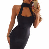 Classic Summer Party Dress Low Cut Night Club Off Shoulder Bodycon Black Bandage Dresses