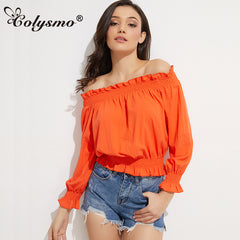 Bardot Neck Lantern Sleeve Off Shoulder Autumn Blouse Shirts Summer Blouses Top