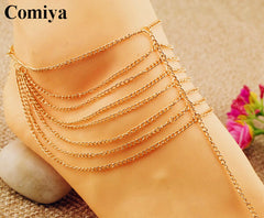 Indian Style Trendy Multi-Layers Chains Jewelry Anklets Zinc Alloy Ankle Bracelets Women Statement