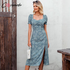 Vintage Print Square Collar Long Dress Summer Casual Puff Sleeve Party Maxi Slim Split Dress