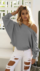 Knitted Autumn Blouses Skew Collar Long Sleeve Batwing Sleeve Top Knitting Wool Shirts