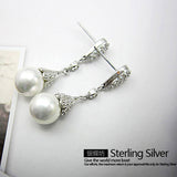 Crystal Swarovski Classic Vintage Pearl Earring Stone Crystal Long Earrings Jewelry Christmas Gift