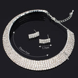 Women Crystal Rhinestone Necklace Earrings Jewelry Sets Party Wedding Accessories Collar