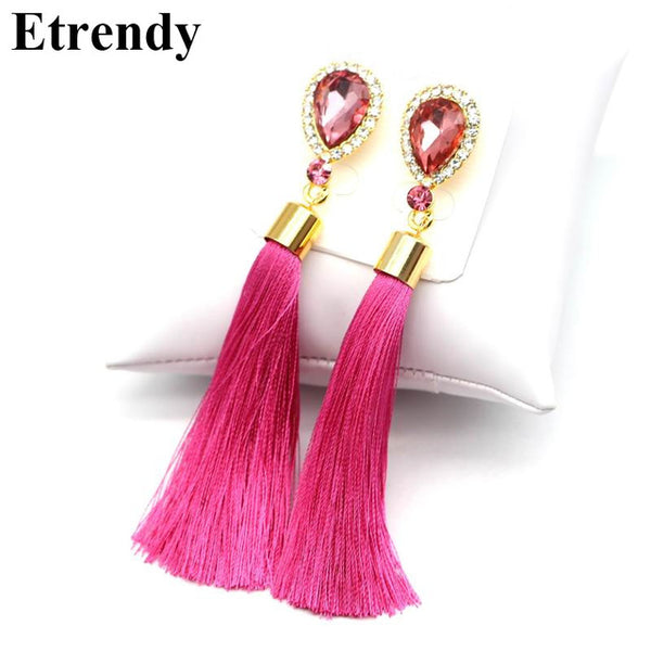 Crystal Water Drop Tassel Long Earrings Women Jewelry Classic Red Black Blue Green White Hot Pink Fine Gifts