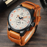 Men's Casual Sport Quartz Watches Top Luxury Quartz Leather Military Watch Wrist Male Clock