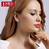 Pearls Silver Color Stud Earrings Jewelry Wedding Statement Cubic Zirconia Earrings Crystal Jewelry