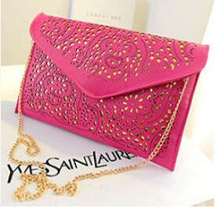 CrossBody Hollow Out Messenger Shoulder Bag Women Envelope Bag Lady Clutches Purse Chain