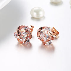 DILILI Crystal Stud Earrings Women Jewelry Cubic Zirconia Rose Gold Wedding Earring Gift