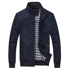 DIMUSI Spring Autumn Men Jacket Male Overcoat Casual Solid Jacket Slim Fit Stand Collar Zipper Coat