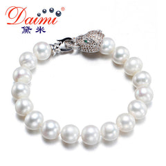 Unique Bracelet Fresh Water Pearl Leopard Bracelet 9-10mm Natural White Pearl Bracelets