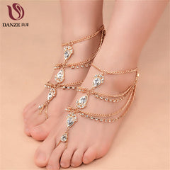 Vintage Antique Gold Water Drop Crystal Beach Women Anklets Foot Chain Wedding Jewelry