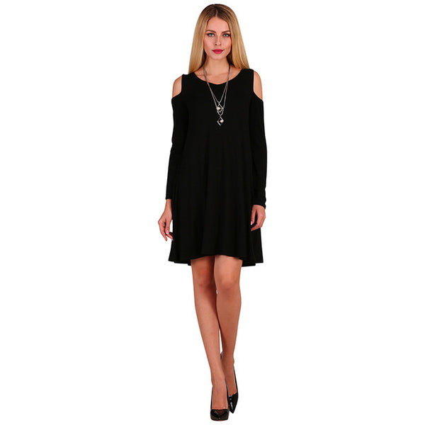 Dasbayla Casual Tunic Dress Off Shoulder Long Sleeve Solid O-Neck Empire Dress