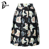 DayLook Cute Cat Print Elastic High Waist Skater Vintage Pleated Midi Skirts Ball Gown Knee-Length Skirt Zipper