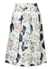 Cute Cat Print High Waist Skater Vintage Pleated Midi Ball Gown Knee-Length Skirts Zipper