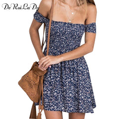 DeRuiLaDy Boho Summer Dress Off Shoulder Floral Print High Waist Beach Casual Vintage Dress