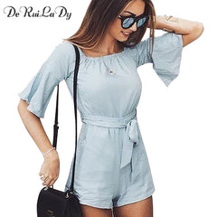 DeRuiLaDy Summer Casual Jumpsuit Bodysuit Sexy Off Shoulder Flare Sleeve Women Rompers