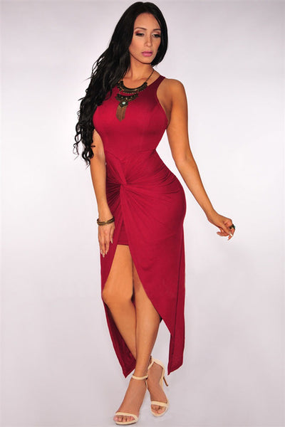 Dear Lover Women Knee-Length Summer Cranberry Sleeveless Knotted Slit Dress Vestidos