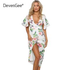 White Boho Women Dress Deep V Short Sleeve Floral Print Long Dress Summer Bohemian Maxi Dress