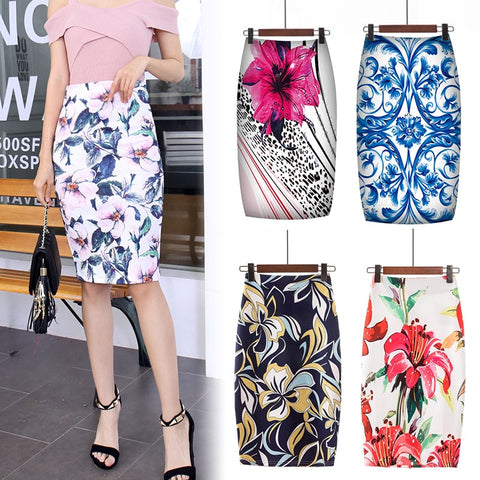 Digital Printed Pencil Skirt Floral Pencil Summer Midi Skirt Skirts