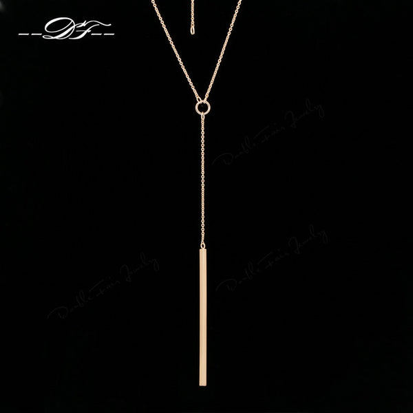 Double Fair Anti Allergy Y Style Chain Long Necklaces Pendants Rose Gold Strip Bar Women Jewelry