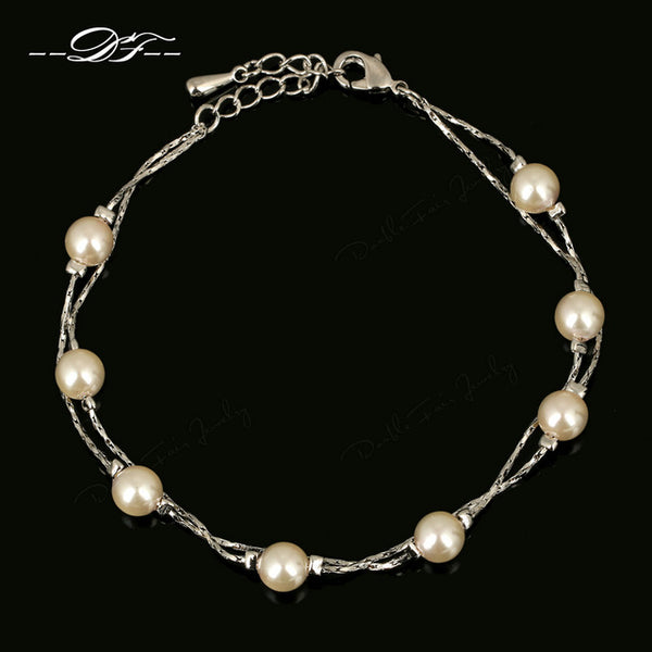 Double Fair Charm Bracelets Bangles Silver/Rose Gold Simulated Pearl Beads Wedding Jewelry