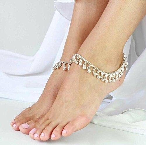 Women Silver Jewelry Indian Belly Dance Anklet Jingling Bells-Toned Pendant Anklets