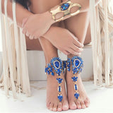 Body Chain Crystal Jewelry Barefoot Sandals Hand Chain Jewelry Colorful Anklet