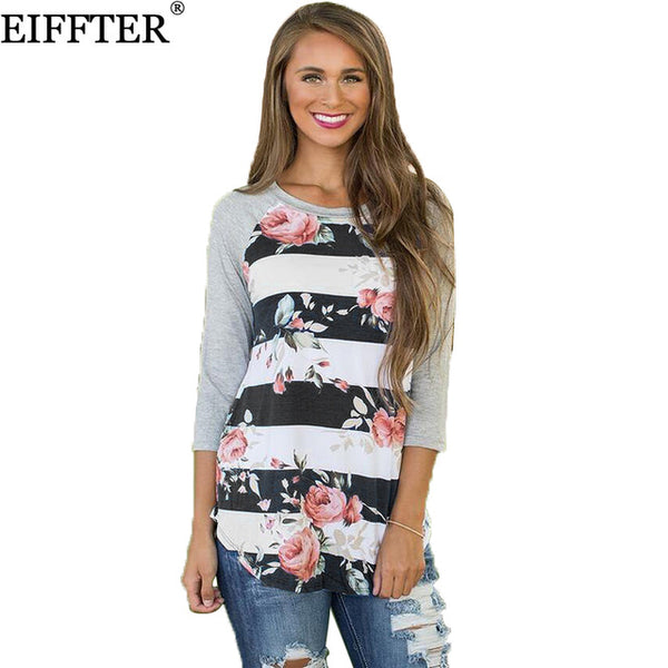 Autumn Women Floral Print T-shirt Three Quarter O-Neck Patchwork Tees Shirts Slim Tops