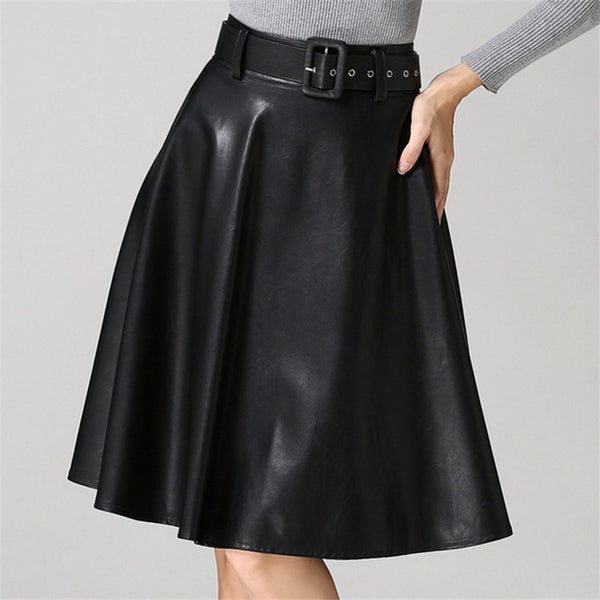 PU Leather Long Black Red Skirt Winter High Waist A Line Suede Leather Skirts Belt