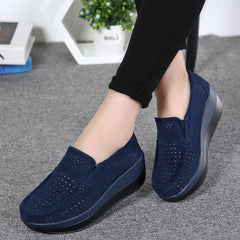 Women Flat Platform Loafers Elegant Suede Leather Moccasins Shoes Slip On Blue Casual Shoes