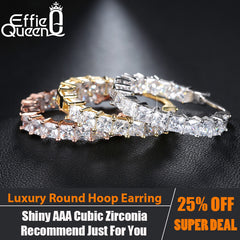 Effie Queen Hoop Earring Eternity Style Shiny Zircon Bar Setting Luxury Earrings