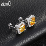 Women Earrings Jewelry Luxury Big Yellow Zircon Stud Earrings Around Paved Micro Zircon