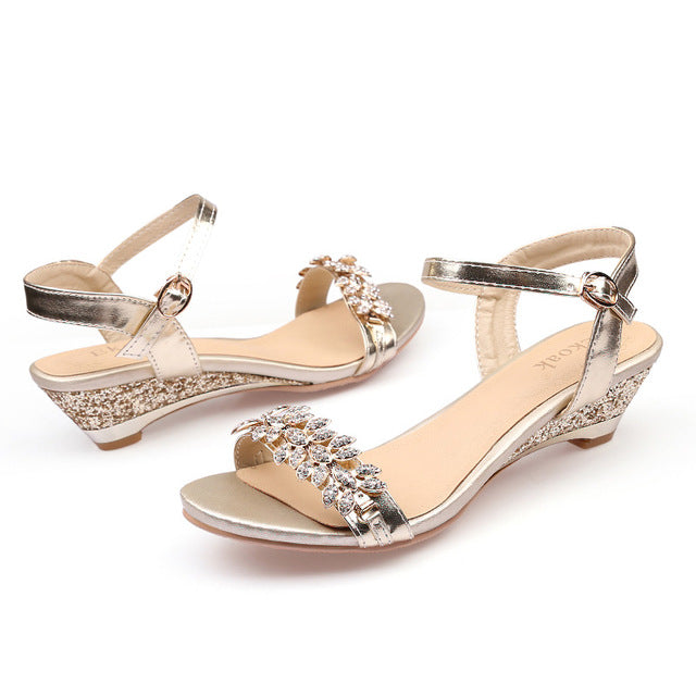 0c6f159695d0 Summer Women Sandals Sexy Crystal Bling Medium Heels Wedges Sandals Pa –  Fashion Flippes