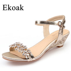 Summer Women Sandals Sexy Crystal Bling Medium Heels Wedges Sandals Party Shoes