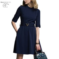 Women Summer Autumn Dress Big Yards Dress Foreign Trade Sleeve Round Collar
