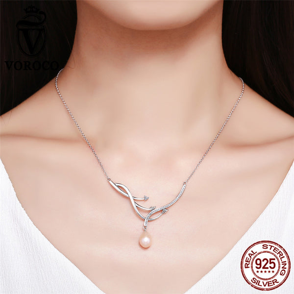 925 Sterling Silver Branch Cross Jewelry Pearl Pendant Necklace Wedding Fine Jewelry