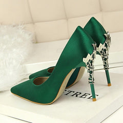 Metal Carved Heels Women Pumps High Quality Silk High Heels Wedding Shoes