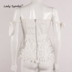 Bow Off Shoulder Beading Women Blouse Shirt Summer White Lace Beach Casual Tops