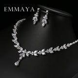 Emmaya Luxury Crystal Zircon Wedding Women African Jewelry Sets Choker Necklace Earrings