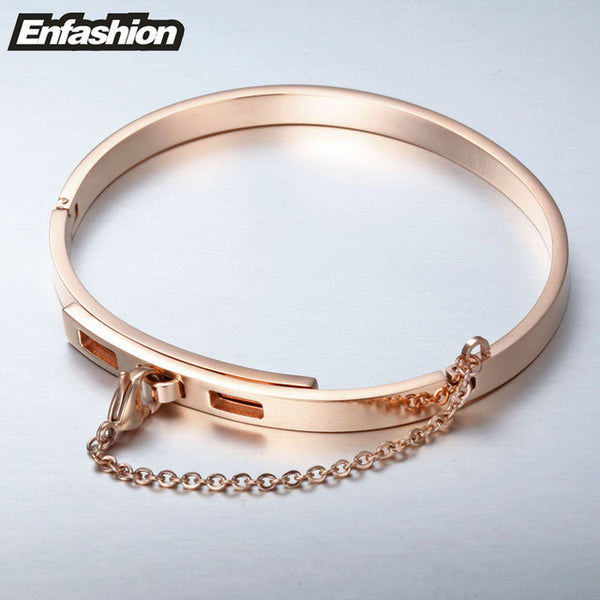 Enfashion Safety Chain Cuff Bracelet Gold Color Bangle Bracelet Women Bracelets Bangles