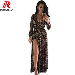 Europe Summer Leopard Print Maxi Dress Women V-neck Nightclub Split Vestidos Loose Long Dress