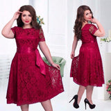 European Sexy Elegant Dress Fit Flare Empire Mid-calf Lace Sashes Party Dresses Plus Size