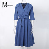 Casual Dresses Women Autumn Suede Midi Dresses Korean Blue Green Sleeve Dress